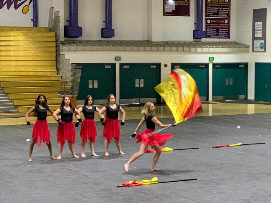 Color+guard+team+won+their+first+competition+on+March+23+at+Valencia+High+School.