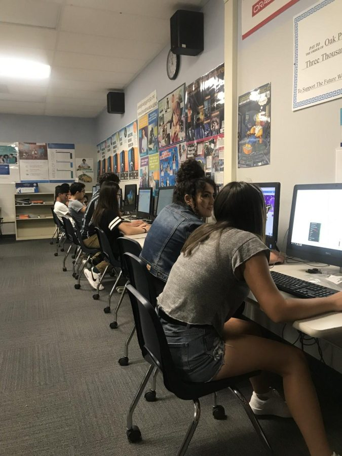 AP Computer Science students working hard in their classroom.