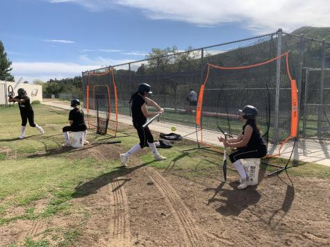 Varsity softball team practices during fifth period. The team is getting ready for their game against Carpinteria.