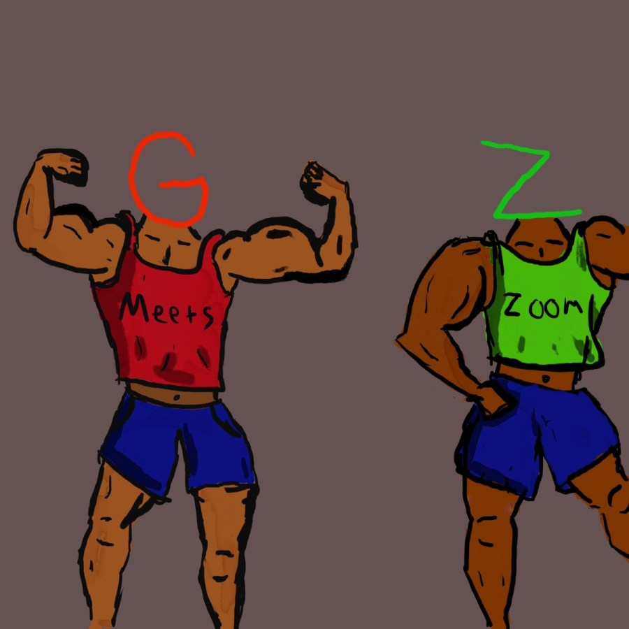 Depiction of virtual conferencing websites Google Meet and Zoom as bodybuilders