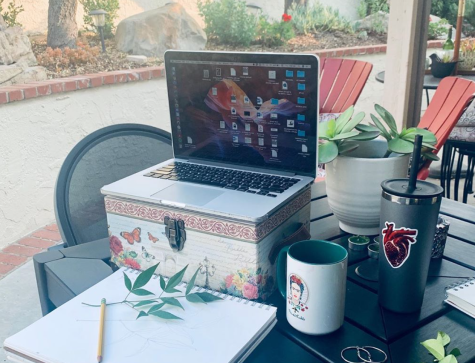 Anna Mendez approaches her limited setup in a unique fashion, using a box to hold up her computer, as well as coffee mug, a cup, and an art notebook to make the best of the space she has outside.