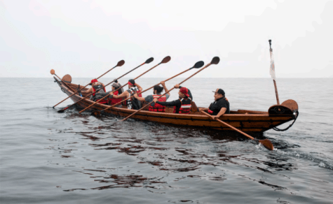 2018 Chumash Tomol Crossing, from Oxnard to Santa Cruz Island; Salazar is the first in the tomol.
