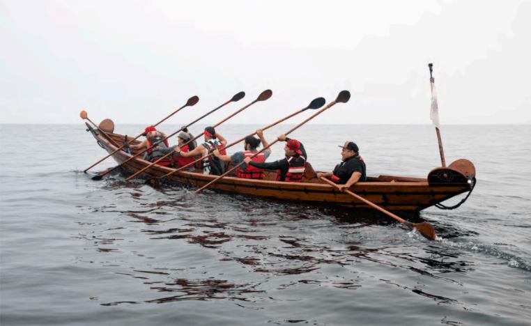 2018 Chumash Tomol Crossing, from Oxnard to Santa Cruz Island; Salazar is the first in the tomol.