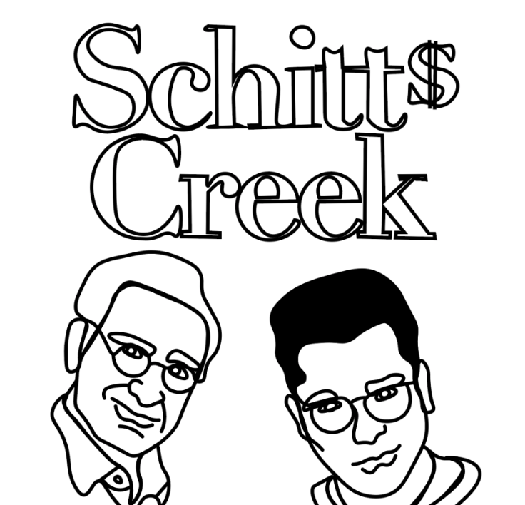 Characters Johnny (left) and David (right) Rose from Schitts Creek.