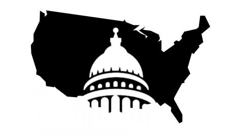 A silhouette of the Capitol building resting within the outline of the United States