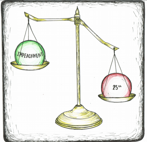 """Weighing the options"" cartoon of a scale balancing the 25th Amendment and Impeachment."