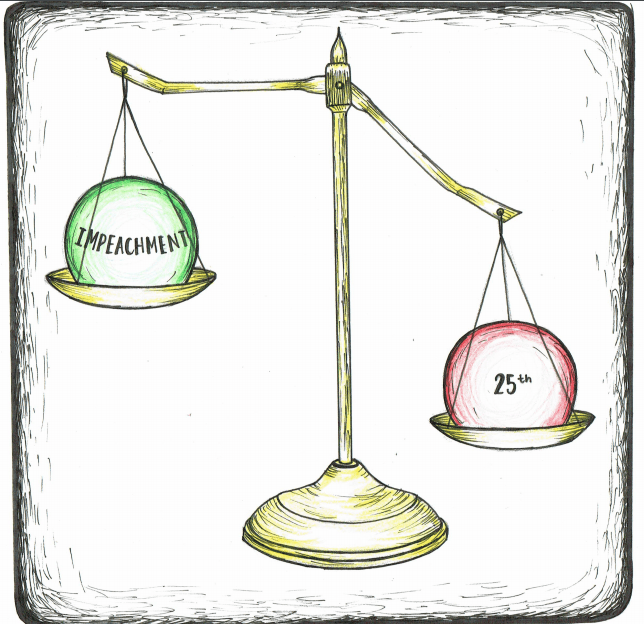 Weighing the options cartoon of a scale balancing the 25th Amendment and Impeachment.