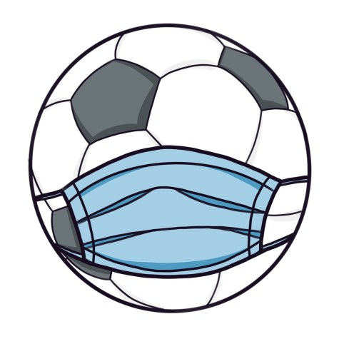 Cartoon illustration of a soccer ball wearing a face mask. As cases continue to drop in California, the return of sports seems inevitable.