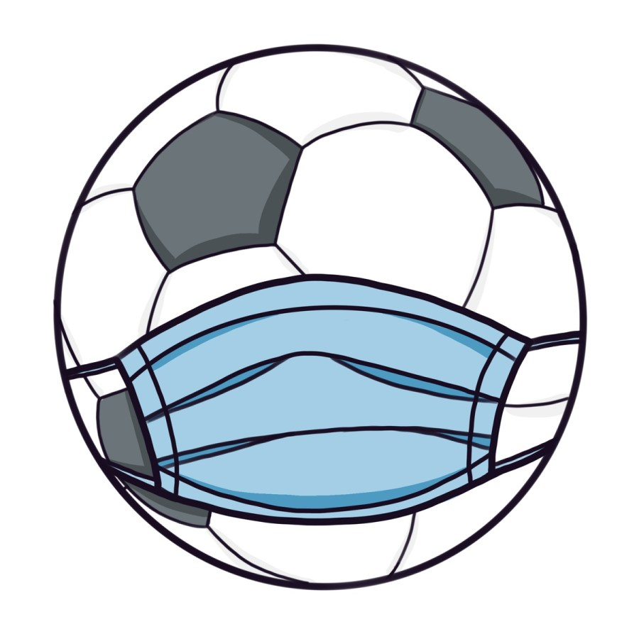 Cartoon+illustration+of+a+soccer+ball+wearing+a+face+mask.+As+cases+continue+to+drop+in+California%2C+the+return+of+sports+seems+inevitable.+