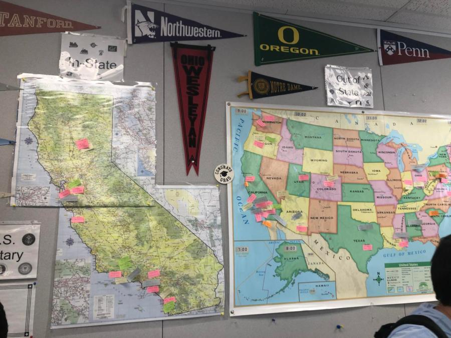 Post-it notes adorn two maps (one displaying California, the other the United States). On Commitment Day, seniors placed the notes in the area they plan to attend college.