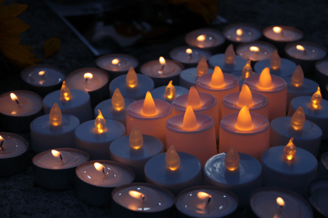 Candles were lit in a heart shape in memory of the Atlanta spa shooting victims.