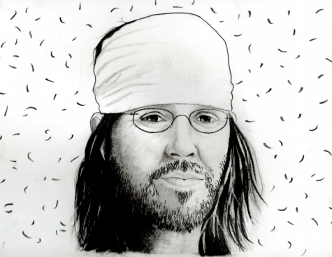 "Illustration of the author of ""Incarnations of Burned Children,"" David Foster Wallace. Wallace has a list of beloved publications such as ""Infinite Jest."""