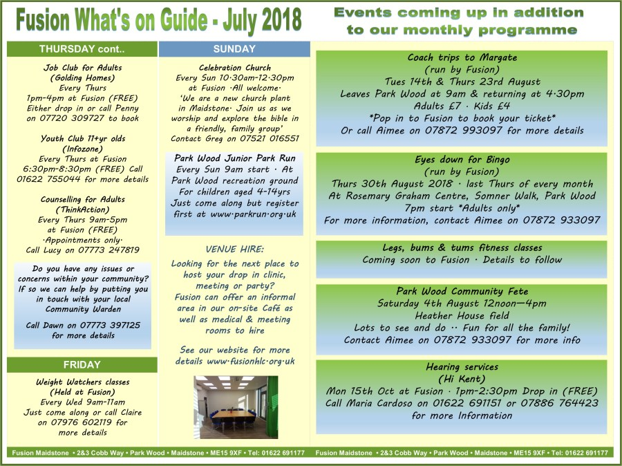 Page 2 summary - July 2018 - Fusion Whats on guide