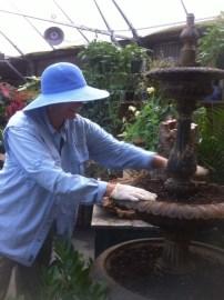 Kris, planting the fountain....