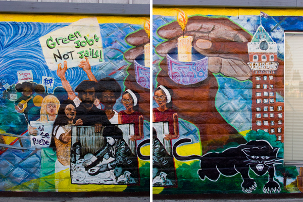 Black Panthers, Green Jobs Not Jails, Ella Baker Center Murals
