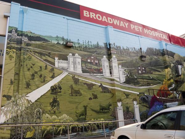 stefen art, stefen mural art, broadway pet hospital, broadway pet hospital mural