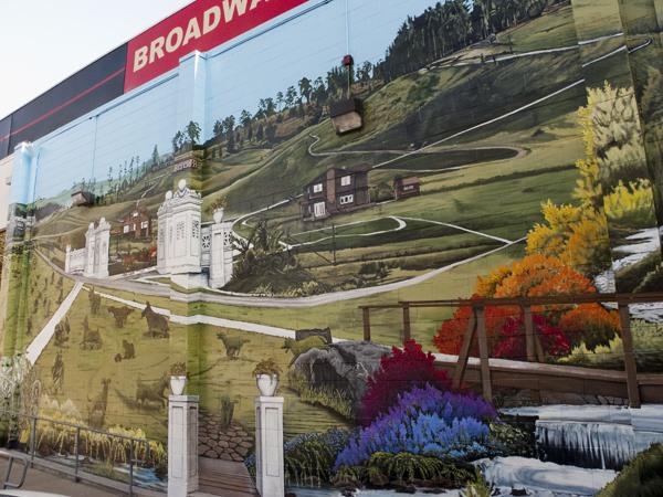 oakland mural art, stefen art mural, rockridge properties mural