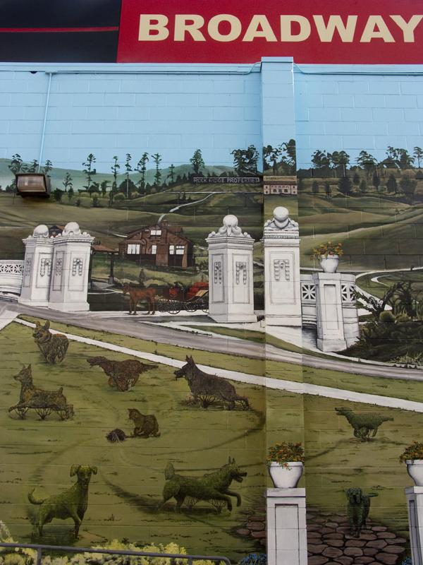 topiary, pet topiaries, pet topiary mural, stefen art mural