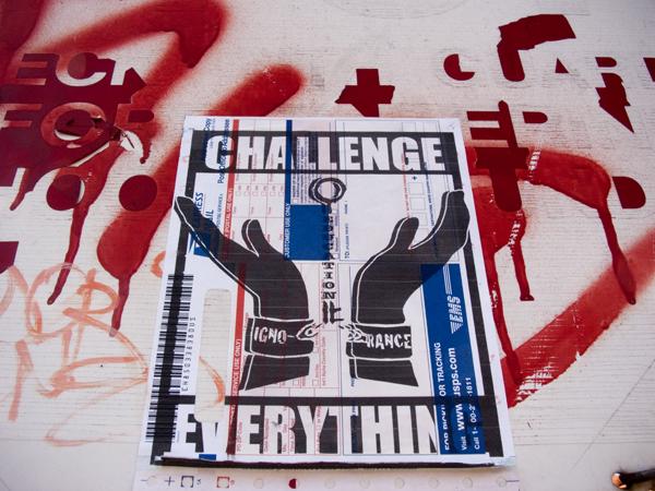 ignorance, education, challenge everything, usps sticker, oakland graffit
