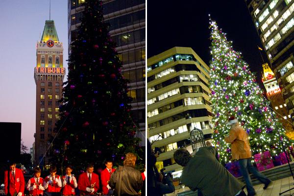 tree lighting ceremony, oakland city center, city center tree lighting