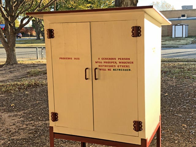 Blessing Box for Food at Oakwood United Methodist Church, Lubbock Texas