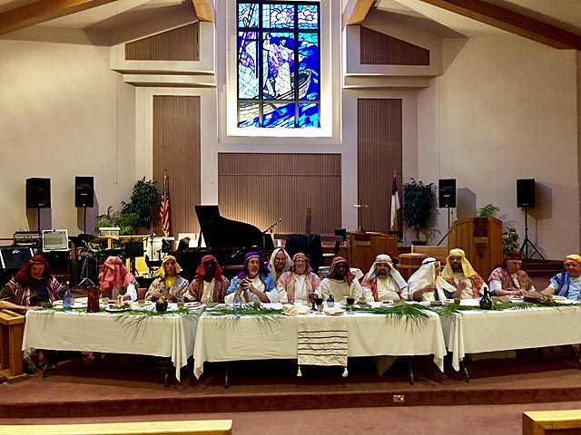 Maundy Thursday Ceremony, Twelve Apostles and Rabbi, Oakwood United Methodist Church, Lubbock Texas
