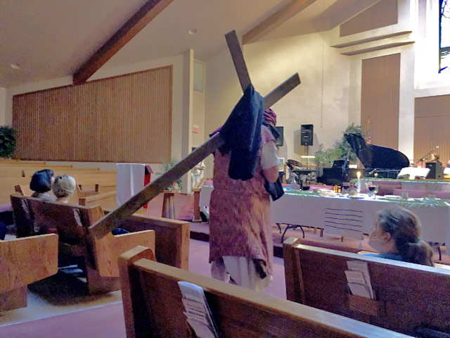 Maundy Thursday Ceremony, Judas Carrying the Cross After Last Supper, Oakwood United Methodist Church, Lubbock Texas