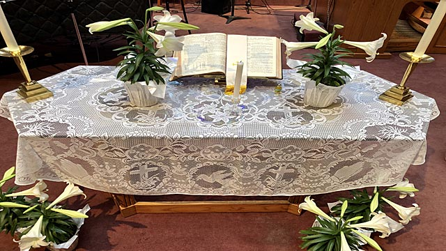 Easter Service, Lilies Beside Holy Bible, Oakwood United Methodist Church, Lubbock Texas