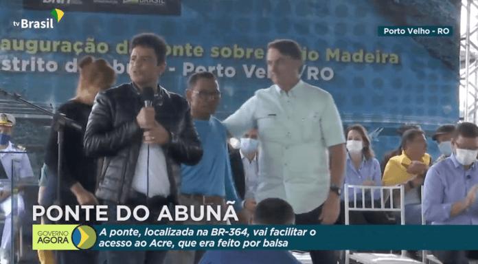 Gladson quebra o protocolo e agradece aos funcionários junto com Bolsonaro