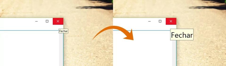 Comparativo: à esquerda o botão fechar e o texto que aparece ao posicionar o mouse sob ele e à direita com a fonte ampliada