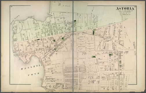 This 1873 Beers Map of Astoria shows how rapidly the village grew after being incorporated. Courtesy of the New York Public Library.
