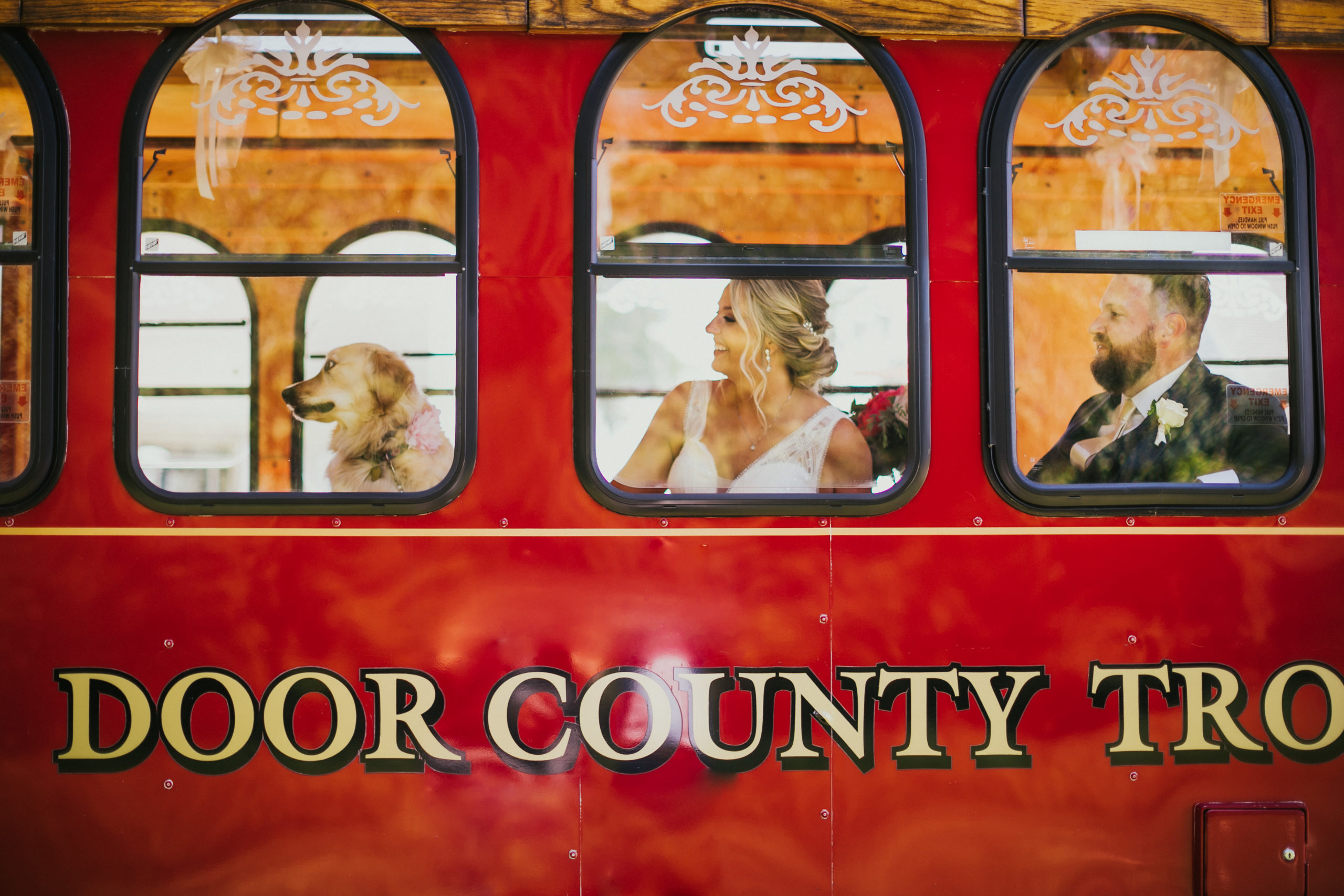 A dog, bride, and groom sit on the Door County Trolley