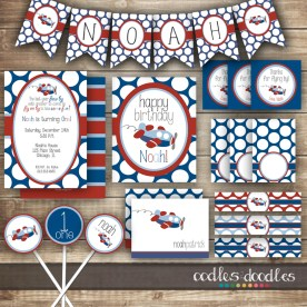 Boy's first birthday, boy's airplane party, party printables by oodles and doodles, o and d