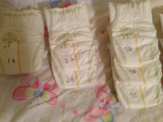 Diapers 1A-3C should accompany you to the hospital or birth center to help you keep track.