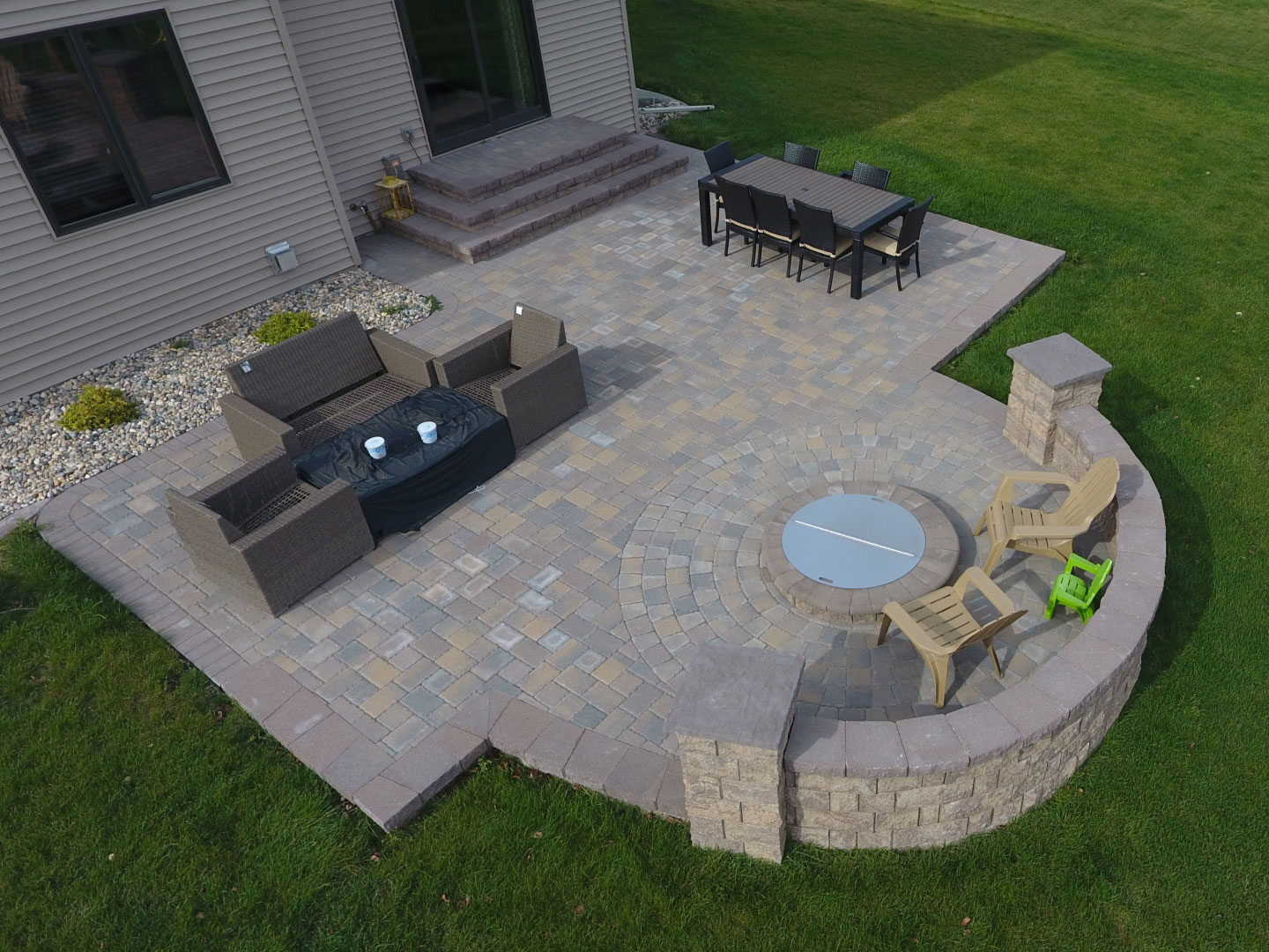 Raised Deck to Patio with Fire Pit and Seat Wall in West