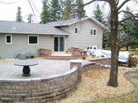 Raised Paver Patio with Retaining Walls, Stairs, Deck, and ...