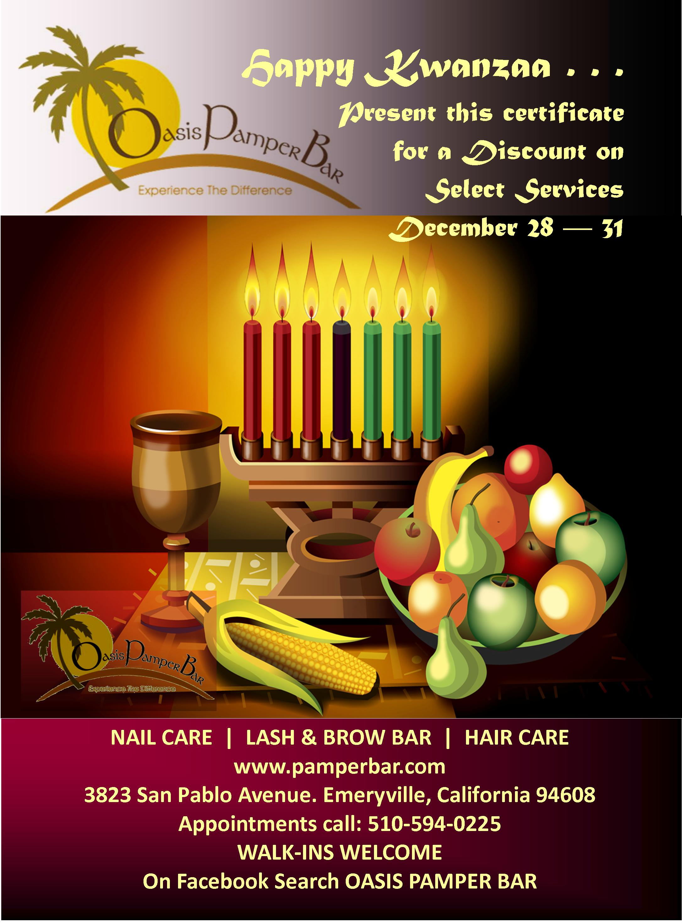 Oasis Pamper Bar Wishes You A Happy Kwanzaa With Discounts
