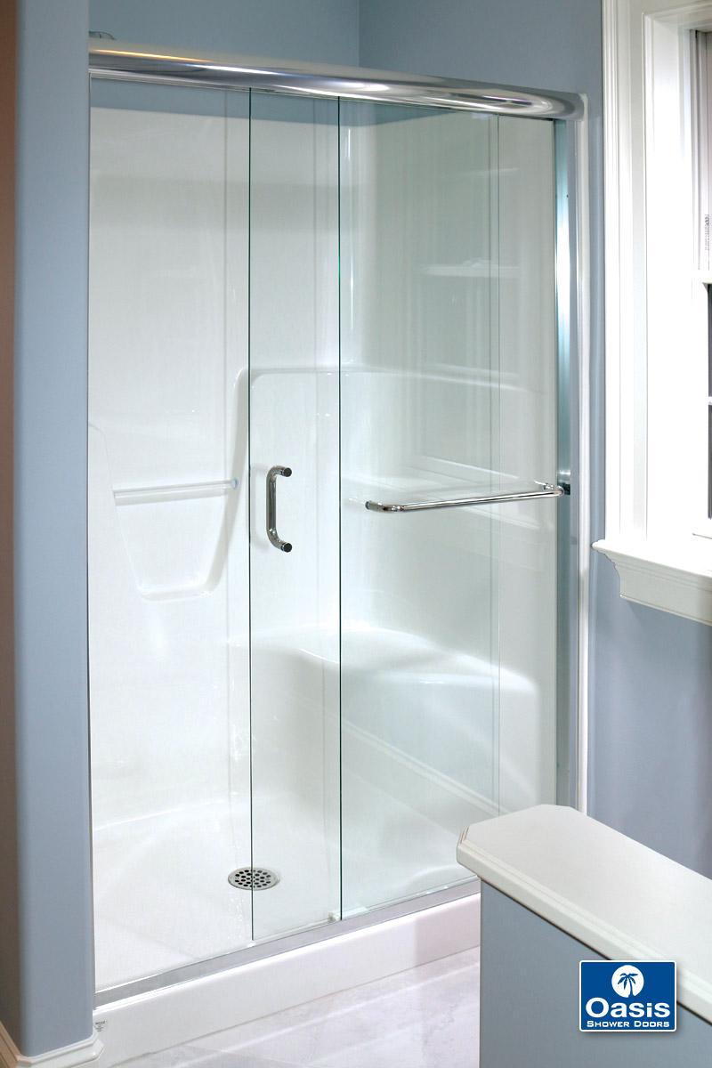 Frameless ByPass  Sliding Shower Doors  Oasis Shower Doors  Boston MA