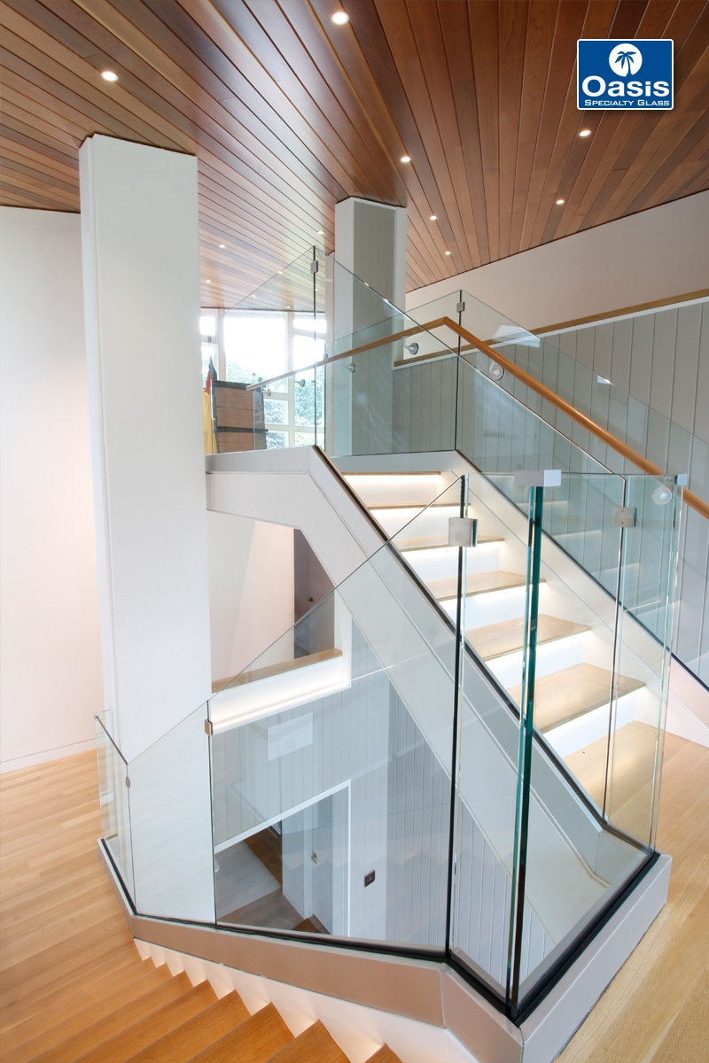 Glass Railings And Banisters Oasis Specialty Glass Boston Ma | Glass Railing With Wood Handrail | Modern | Interior | Panel | Metal | Residential