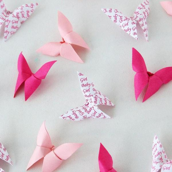 Origami-Butterfly-Baby-Girl-Party-Baby-Shower-Table-Scatters-Confetti-Handmade-Pink-Personalised-Oast-House-Gifts