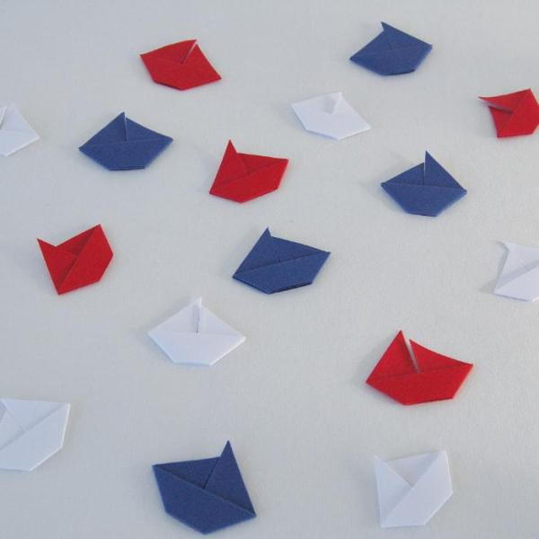 Origami-Sailboat-Wedding-Party-Table-Scatters-Confetti-Handmade-Royal-Blue-Red-White-Oast-House-Gifts