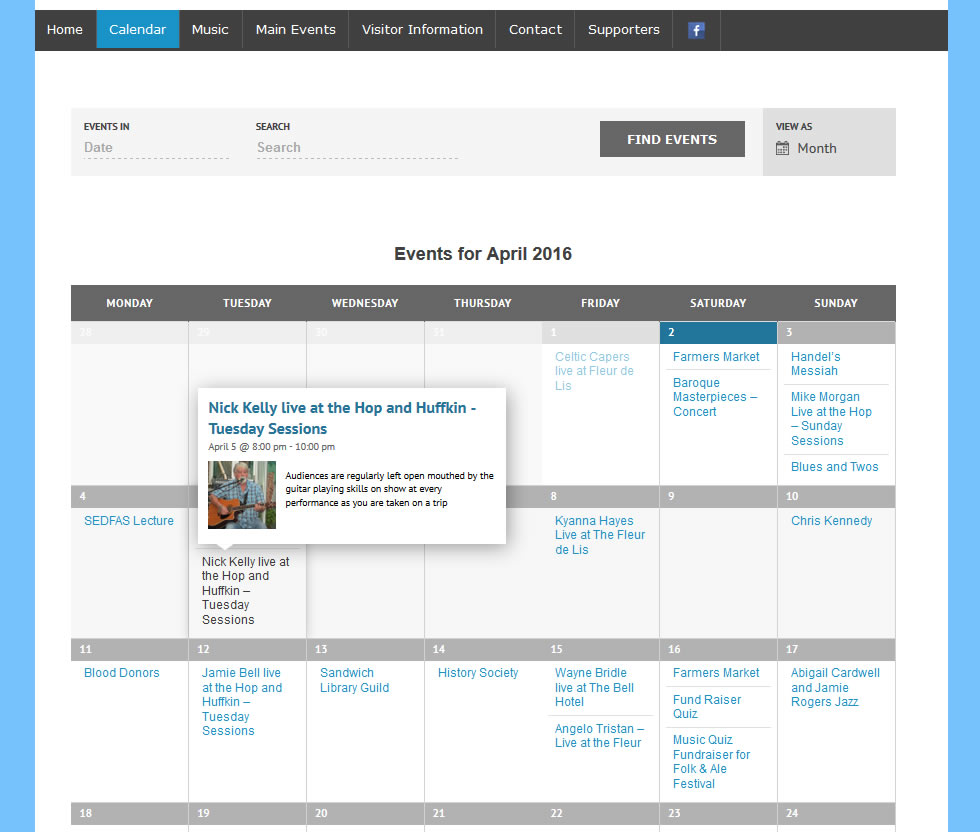 Calendar Website Design : Sandwich events calendar website goes live wordpress