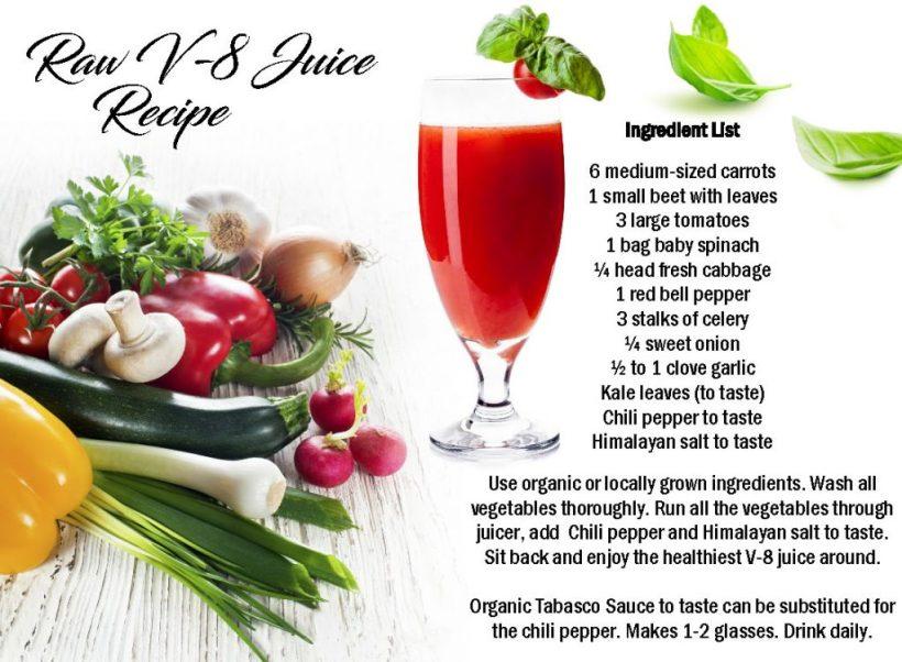 Raw V-8 juice recipe