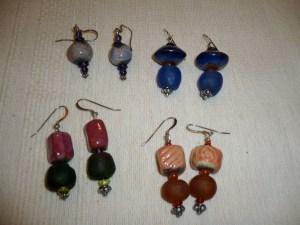 Raku and Glass Earrings