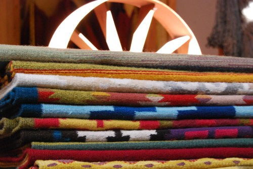 Hand-woven tapestries with spinning wheel