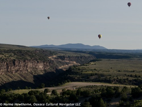 Hot air balloons over the Rio Grande River gorge.