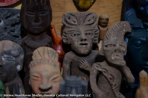 Clay and wood carved artifacts