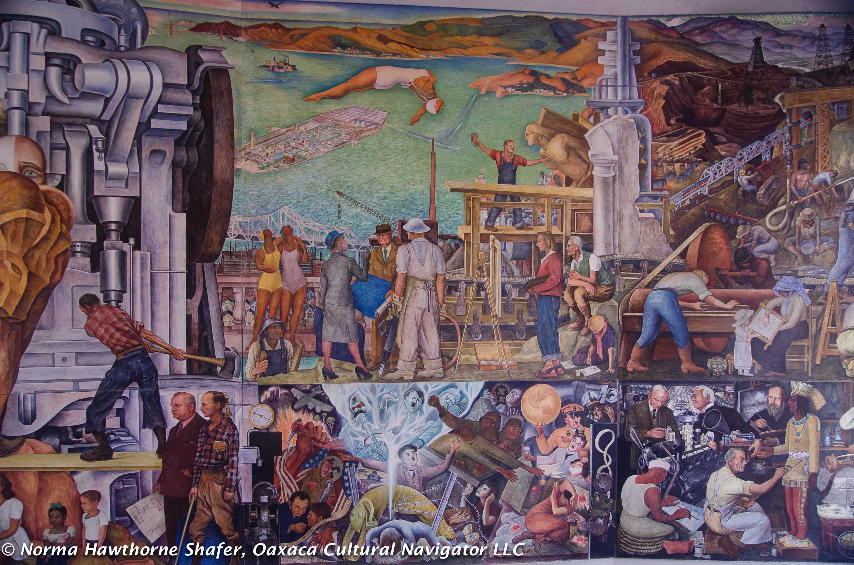 Frescoes oaxaca cultural navigator norma schafer for Diego rivera pan american unity mural