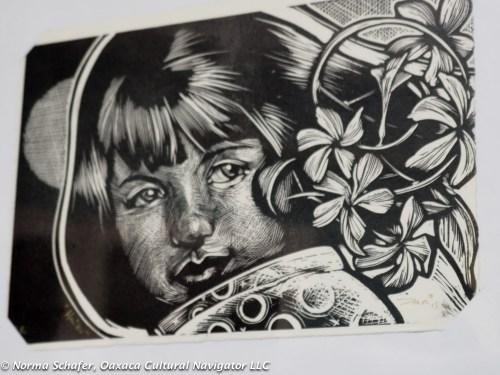 Black and white print at La Chicharra