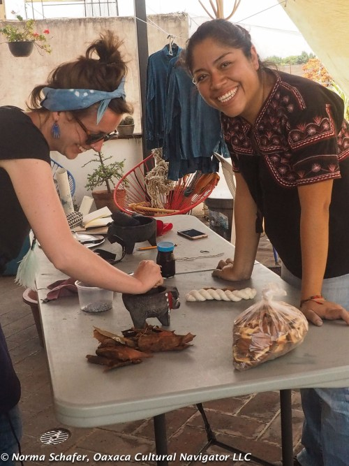 Rhiannon uses the mortar and pestle to grind cochineal to a fine powder. Elsa is happy with her results.